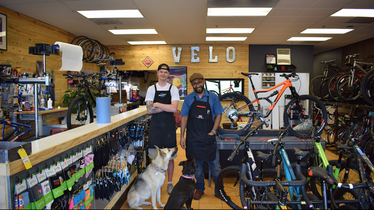 Sunny Waas owns Velo-Stop in Superior and gets help from Erik Bakken.