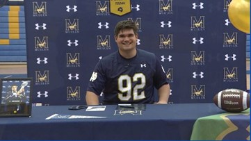 Mullen's Aidan Keanaaina signs with Notre Dame