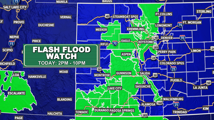 Mountain Flash Flood Watch for heavy rain, tracking evening storms for Denver