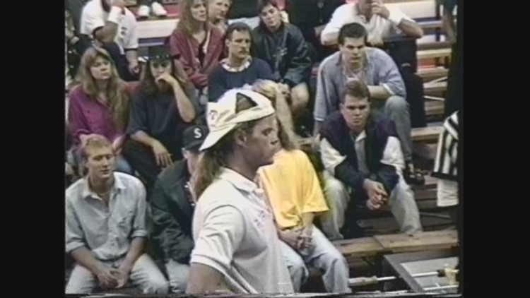 Tom Spear at a foosball tournament, pictured here in 1994.