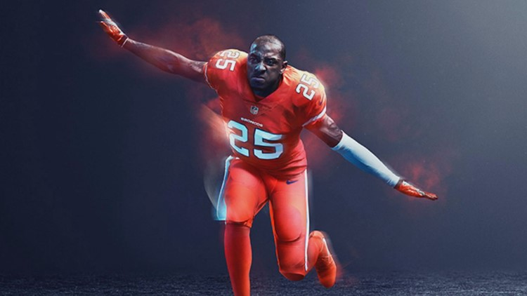 sports shoes 9a5b8 da1a8 Broncos' Color Rush uniforms coming home vs. Steelers ...