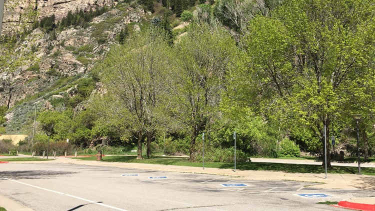 Empty parking lot at Hanging Lake