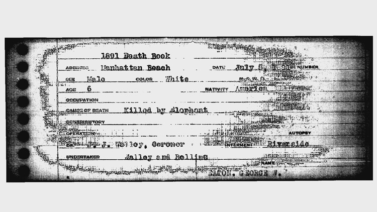 Death record for George Eaton from Denver Hospital.