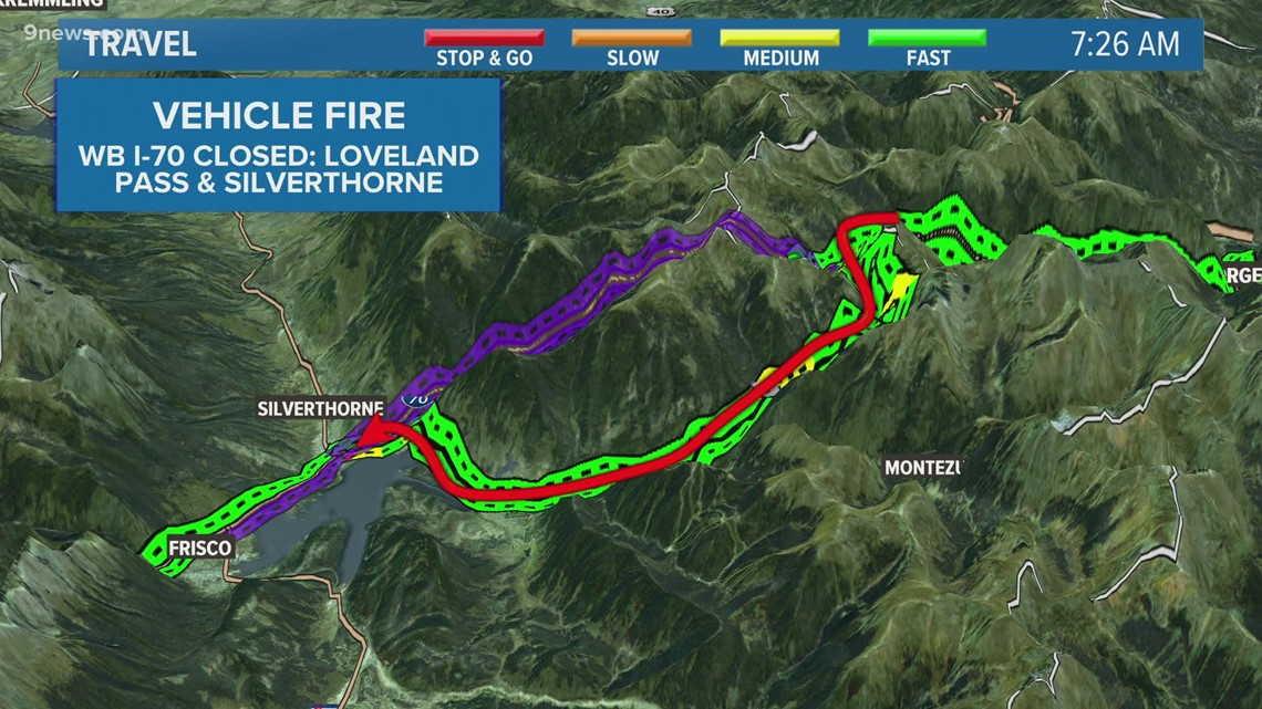 Vehicle fire closes I-70 between Silverthorne and Loveland Pass