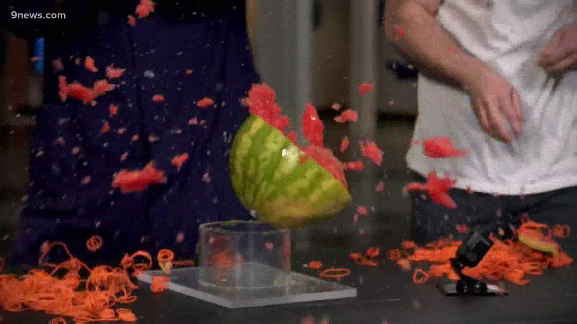 You can use rubber bands to create a watermelon explosion