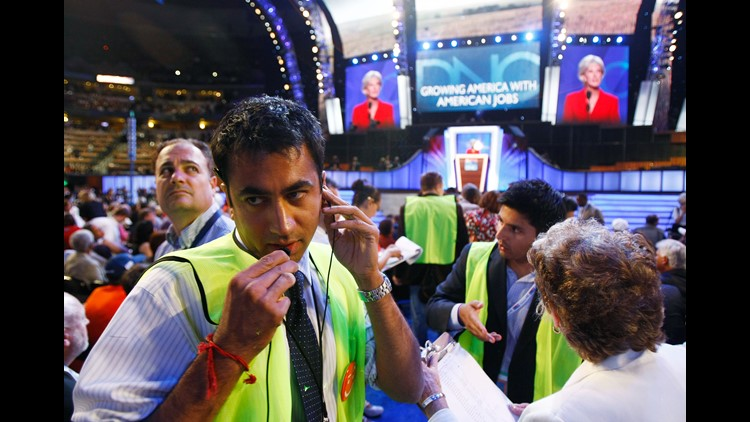 Actor Kal Penn works the floor for the Democratic party during day two of the Democratic National Convention (DNC) at the Pepsi Center August 26, 2008 in Denver, Colorado.