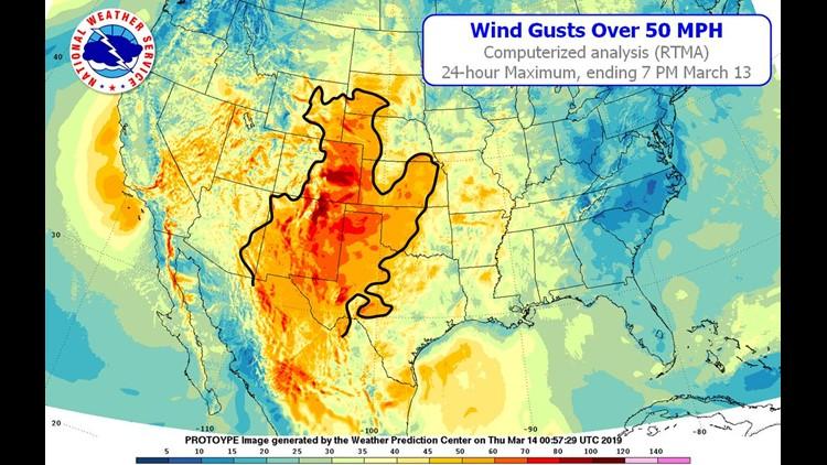 50 mph plus wind contour