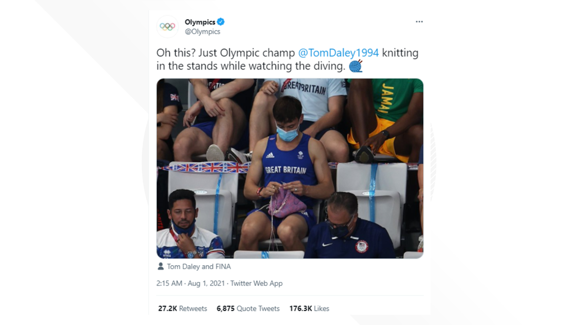 Tom Daley knitting in the stands might be one of the best parts of the Olympics