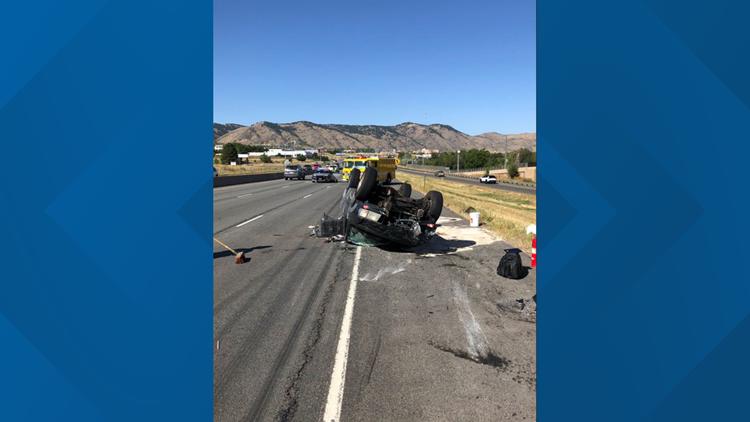 1 hospitalized in three-vehicle crash on westbound Highway 6