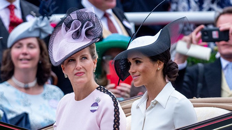 ASCOT, ENGLAND - JUNE 19: Meghan, Duchess of Sussex and Sophie, Countess of Wessex attend Royal Ascot Day 1 at Ascot Racecourse on June 19, 2018 in Ascot, United Kingdom. (Photo by Mark Cuthbert/UK Press via Getty Images)