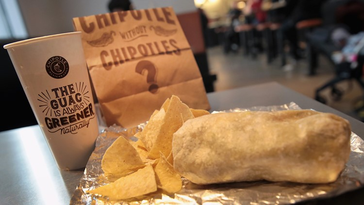 Chipotle food being served