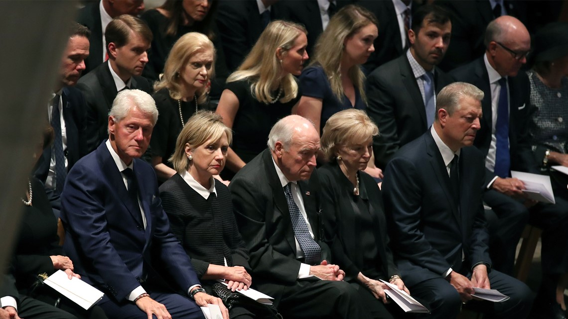 photos all the politicians celebrities attending mccain s funeral