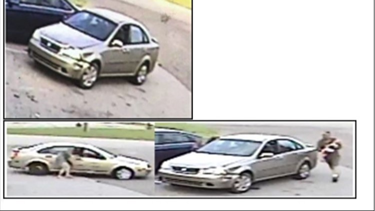 Actual photos of the vehicle and abduction. Damage can be seen on the driver's front fender and a spare tire is on the passenger rear.