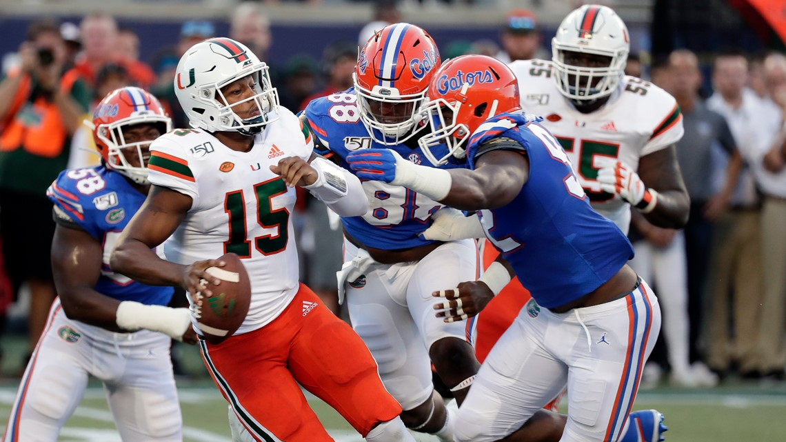Florida holds on for wild, 24-20 win over Miami