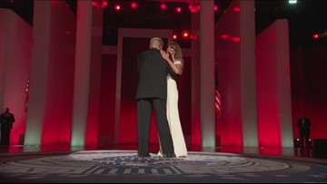President Trump and First Lady share first dance