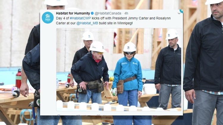 Jimmy Carter collapses at Habitat Build