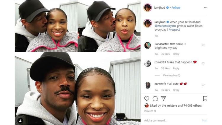 "Jennifer Hudson shares pic with Marlon Wayans on set of ""Respect"""